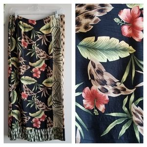 REQUIREMENTS Vintage Tropical Floral Skirt Black